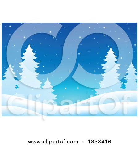 Clipart of a Snowy Winter Night Background with Silhouetted Evergreen Trees - Royalty Free Vector Illustration by visekart