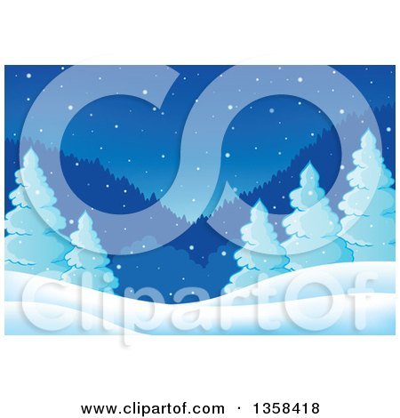 Clipart of a Snowy Winter Night Background with Evergreen Trees and Mountains - Royalty Free Vector Illustration by visekart