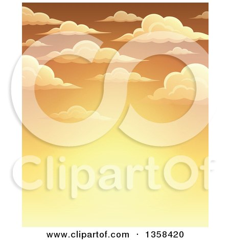 Clipart of a Background of a Golden Sunset Sky with Puffy Clouds - Royalty Free Vector Illustration by visekart