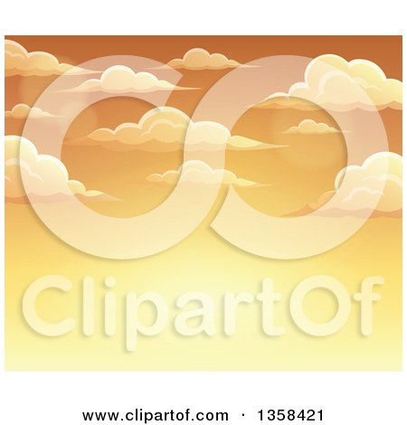 Clipart of a Background of a Golden Sunset Sky with Clouds - Royalty Free Vector Illustration by visekart