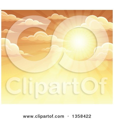 Clipart of a Background of a Golden Sunset Sun Shining in the Sky with Puffy Clouds - Royalty Free Vector Illustration by visekart