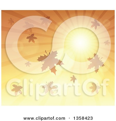 Clipart of a Background of a Golden Sunset Sun Shining in the Sky with Autumn Leaves - Royalty Free Vector Illustration by visekart