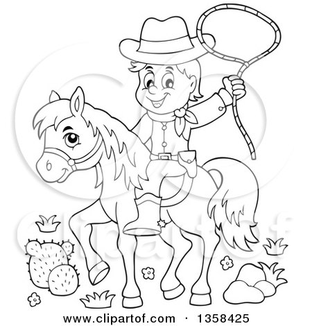 Clipart of a Cartoon Black and White Cowboy Swinging a Lasso on Horseback - Royalty Free Vector Illustration by visekart
