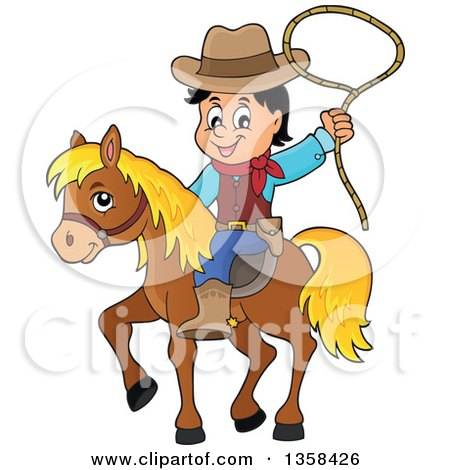 Clipart of a Cartoon Cowboy Swinging a Lasso on Horseback ...