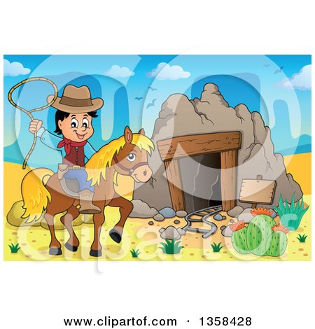 Clipart of a Cartoon Cowboy Swinging a Lasso on Horseback by an Old Mining Cave in the Desert - Royalty Free Vector Illustration by visekart