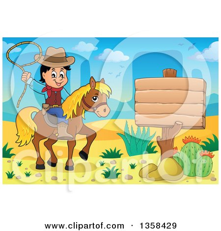 Clipart of a Cartoon Cowboy Swinging a Lasso on Horseback by a Blank Sign in the Desert - Royalty Free Vector Illustration by visekart