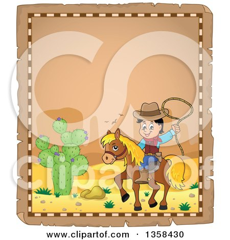 Clipart of a Parchment Page with a Cartoon Cowboy Swinging a Lasso on Horseback in a Desert - Royalty Free Vector Illustration by visekart