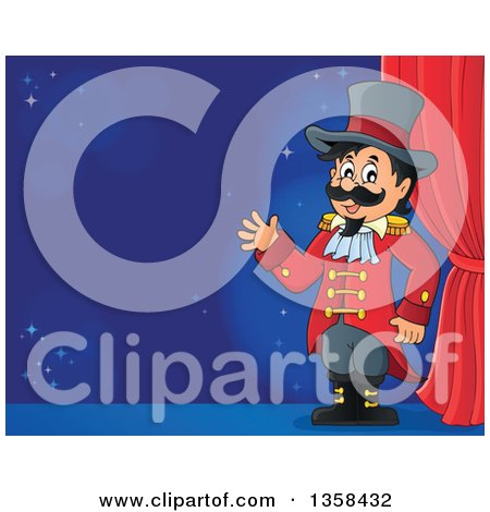 Clipart of a Cartoon Circus Ringmaster Man Waving by a Curtain on Stage - Royalty Free Vector Illustration by visekart