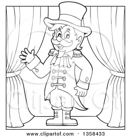 Clipart Of A Cartoon Black And White Circus Ringmaster Man Waving On