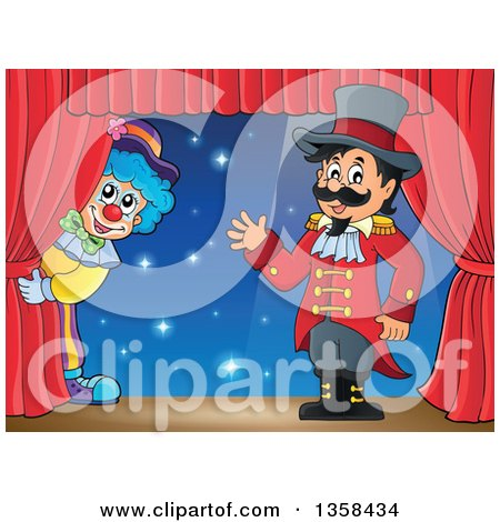 Clipart of a Cartoon Circus Ringmaster Man Waving by a Clown on Stage - Royalty Free Vector Illustration by visekart