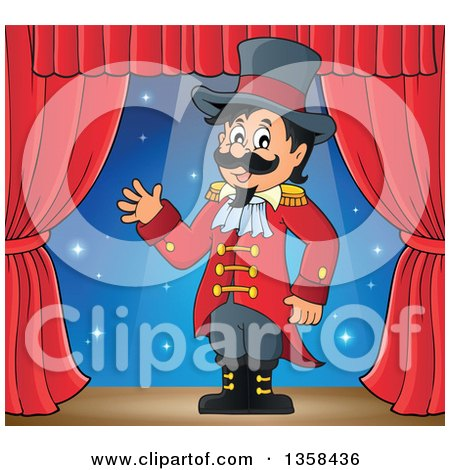 Clipart of a Cartoon Circus Ringmaster Man Waving on Stage - Royalty Free Vector Illustration by visekart