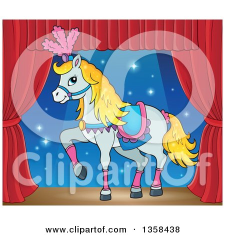 Clipart of a Cartoon Fancy White Circus Horse Prancing on Stage - Royalty Free Vector Illustration by visekart