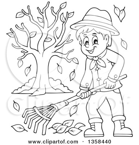 clipart of a cartoon black and white happy man raking autumn leaves