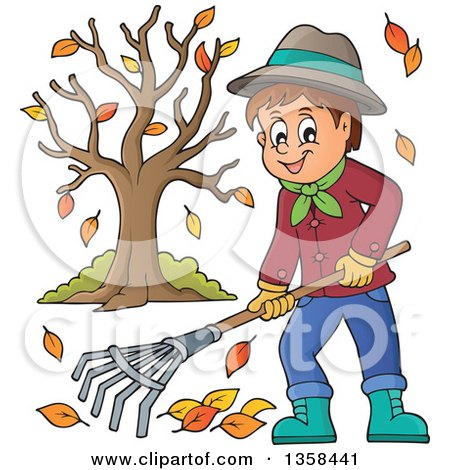 Clipart of a Cartoon Happy Man Raking Autumn Leaves by a Tree - Royalty Free Vector Illustration by visekart