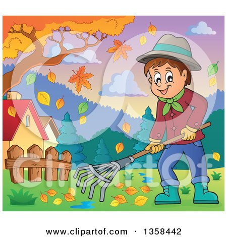 Clipart of a Cartoon Happy Man Raking Autumn Leaves in a Yard - Royalty Free Vector Illustration by visekart