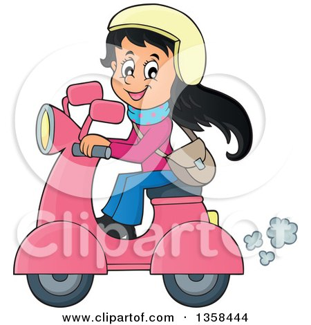 Cartoon of a Happy Girl Riding a Scooter - Royalty Free Vector ...