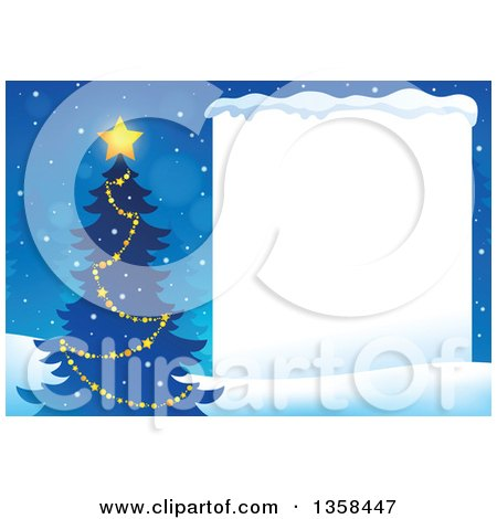 Clipart of a Silhouetted Christmas Tree with a Glowing Star Next to a Blank Sign with Snow - Royalty Free Vector Illustration by visekart