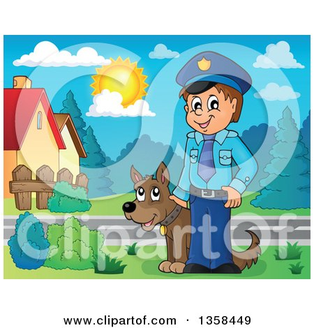 Clipart of a Cartoon White Male Police Officer with a Dog in a Neighborhood - Royalty Free Vector Illustration by visekart