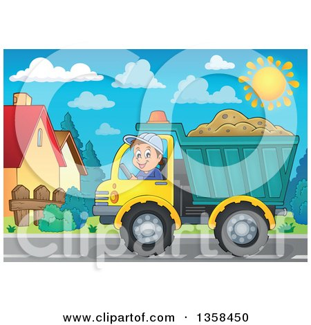 Clipart of a Cartoon Happy Man Driving a Truck Full of Sand - Royalty Free Vector Illustration by visekart