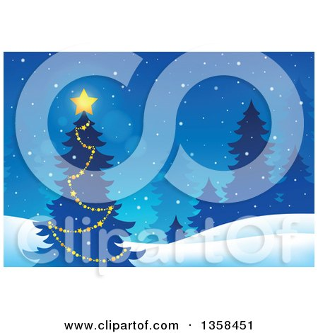 Clipart of a Glowing Star on an Outdoor Christmas Tree, with Evergreens in the Snow - Royalty Free Vector Illustration by visekart