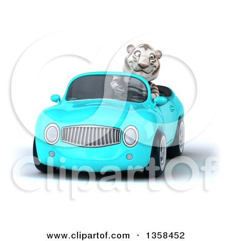 Clipart of a 3d White Tiger Driving a Light Blue Convertible Car, on a White Background - Royalty Free Illustration by Julos