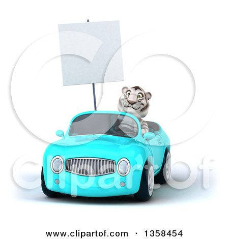 Clipart of a 3d White Tiger Holding a Blank Sign and Driving a Light Blue Convertible Car, on a White Background - Royalty Free Illustration by Julos