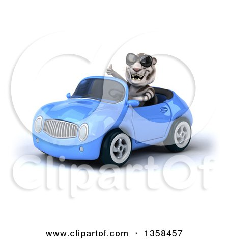 Clipart of a 3d White Tiger Wearing Sunglasses, Giving a Thumb up and Driving a Blue Convertible Car, on a White Background - Royalty Free Illustration by Julos