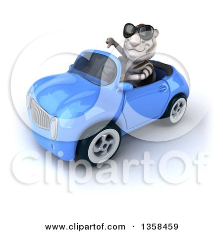 Clipart of a 3d White Tiger Wearing Sunglasses, Giving a Thumb down and Driving a Blue Convertible Car, on a White Background - Royalty Free Illustration by Julos