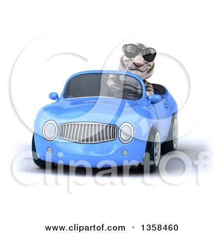 Clipart of a 3d White Tiger Wearing Sunglasses and Driving a Blue Convertible Car, on a White Background - Royalty Free Illustration by Julos