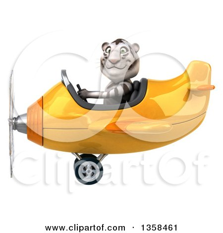 Clipart of a 3d White Tiger Aviator Pilot Flying a Yellow Airplane, on a White Background - Royalty Free Illustration by Julos