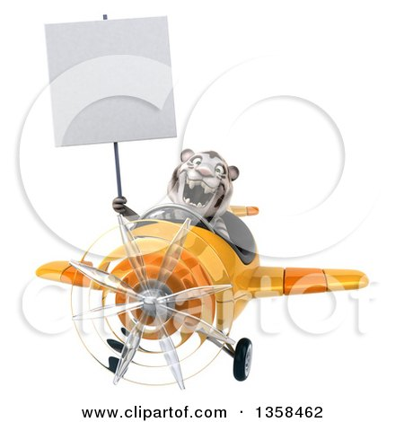 Clipart of a 3d White Tiger Aviator Pilot Holding a Blank Sign and Flying a Yellow Airplane, on a White Background - Royalty Free Illustration by Julos