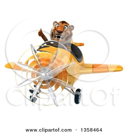 Clipart of a 3d Tiger Aviator Pilot Giving a Thumb up and Flying a Yellow Airplane, on a White Background - Royalty Free Illustration by Julos