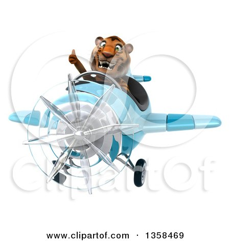 Clipart of a 3d Tiger Aviator Pilot Giving a Thumb up and Flying a Blue Airplane, on a White Background - Royalty Free Illustration by Julos