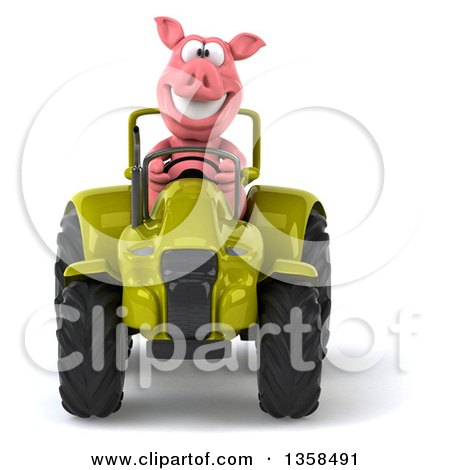 Clipart of a 3d Pig Operating a Green Tractor, on a White Background - Royalty Free Illustration by Julos