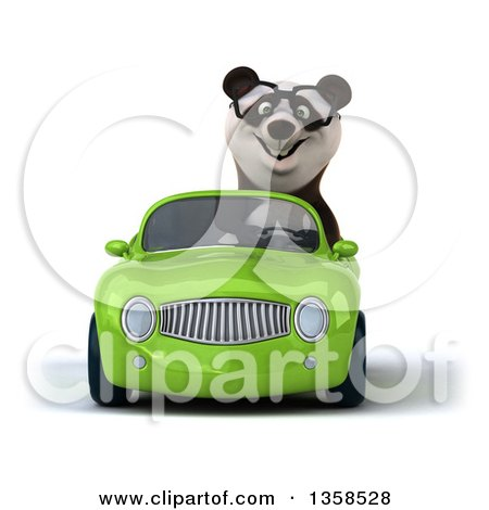 Clipart of a 3d Bespectacled Panda Driving a Green Convertible Car, on a White Background - Royalty Free Illustration by Julos