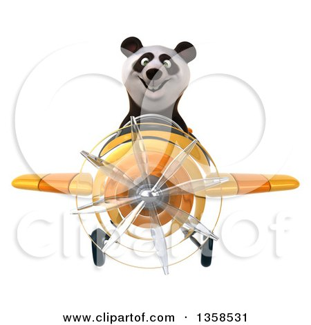 Clipart of a 3d Panda Aviator Pilot Flying a Yellow Airplane, on a White Background - Royalty Free Illustration by Julos