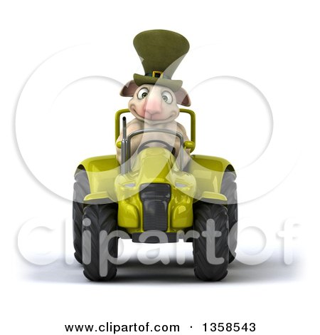 Clipart of a 3d Irish Sheep Operating a Green Tractor, on a White Background - Royalty Free Illustration by Julos