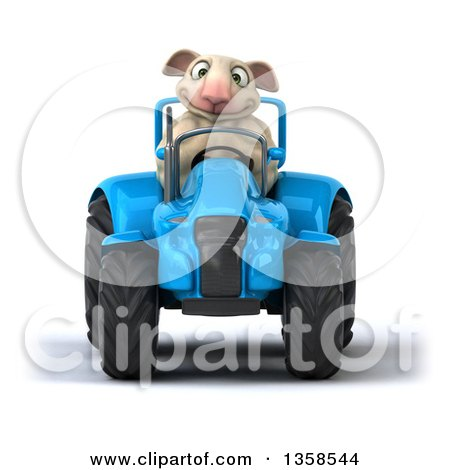 Clipart of a 3d Sheep Operating a Blue Tractor, on a White Background - Royalty Free Illustration by Julos