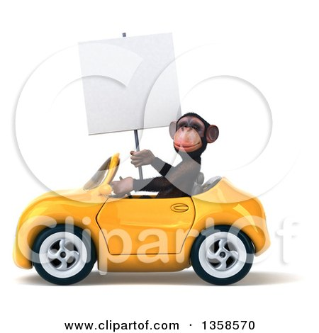 Clipart of a 3d Chimpanzee Monkey Holding a Blank Sign and Driving a Yellow Convertible Car, on a White Background - Royalty Free Illustration by Julos