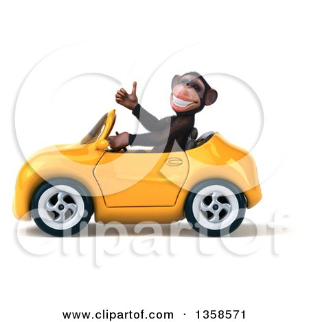 Clipart of a 3d Chimpanzee Monkey Giving a Thumb up and Driving a Yellow Convertible Car, on a White Background - Royalty Free Illustration by Julos