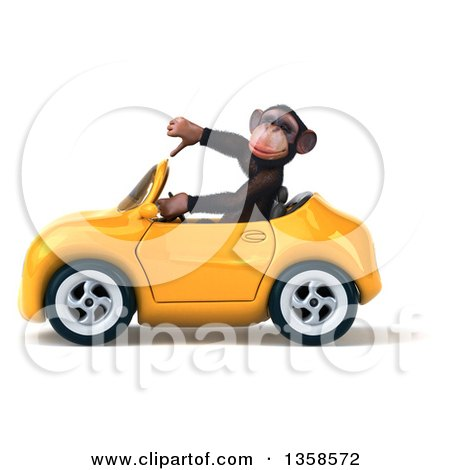 Clipart of a 3d Chimpanzee Monkey Giving a Thumb down and Driving a Yellow Convertible Car, on a White Background - Royalty Free Illustration by Julos