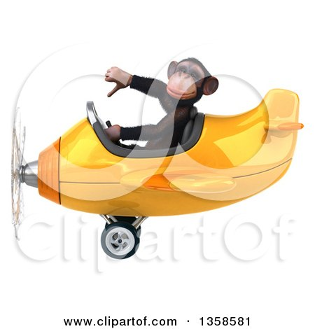 Clipart of a 3d Chimpanzee Monkey Aviator Pilot Giving a Thumb down and Flying a Yellow Airplane, on a White Background - Royalty Free Illustration by Julos