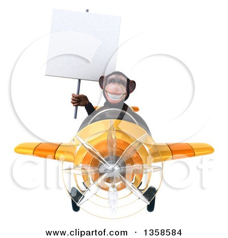 Clipart of a 3d Chimpanzee Monkey Aviator Pilot Holding a Blank Sign and Flying a Yellow Airplane, on a White Background - Royalty Free Illustration by Julos