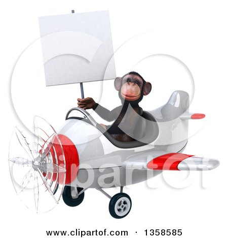 Clipart of a 3d Chimpanzee Monkey Aviator Pilot Holding a Blank Sign and Flying a White and Red Airplane, on a White Background - Royalty Free Illustration by Julos