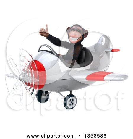 Clipart of a 3d Chimpanzee Monkey Aviator Pilot Giving a Thumb up and Flying a White and Red Airplane, on a White Background - Royalty Free Illustration by Julos