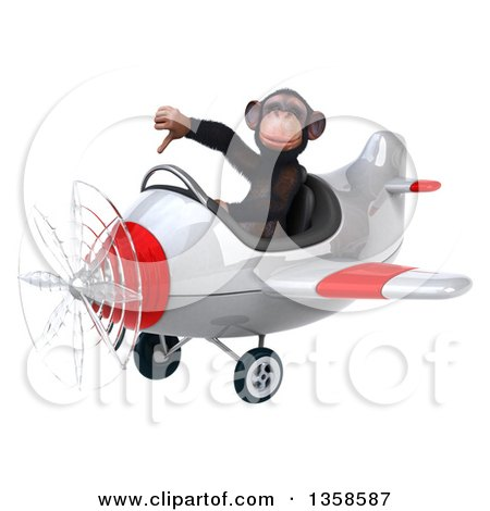 Clipart of a 3d Chimpanzee Monkey Aviator Pilot Giving a Thumb down and Flying a White and Red Airplane, on a White Background - Royalty Free Illustration by Julos