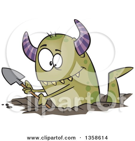 Clipart of a Cartoon Green Horned Monster Digging a Hole - Royalty Free Vector Illustration by toonaday