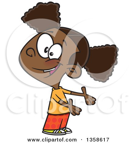 Clipart of a Cartoon Friendly Black Girl Presenting or Expressing Someone Elses Turn - Royalty Free Vector Illustration by toonaday