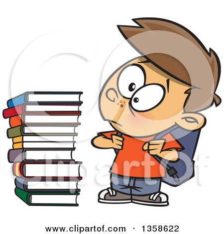 Clipart of a Cartoon Brunette White Male School Boy Glaring at a Stack of Books - Royalty Free Vector Illustration by toonaday