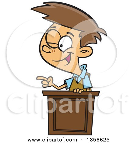 Clipart of a Cartoon Brunette White School Boy Winking and Giving a Lecture at a Podium - Royalty Free Vector Illustration by toonaday